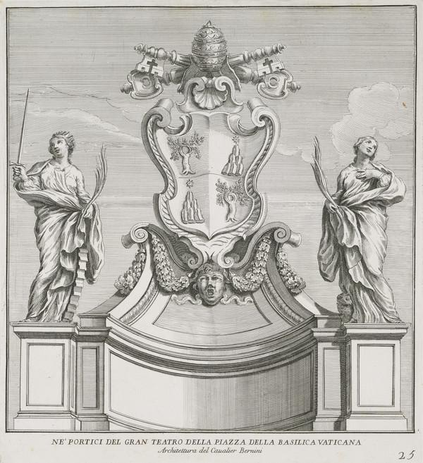 Plate 25 from a Volume of Prints. Design for St. Peter's Piazza Portico Showing Various Female Saints and the Arms of Alexander VII