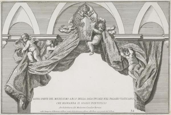 Plate 32 from a Volume of Architectural Prints. Design for the Sala Ducale in the Vatican Palace Showing the Papal Arms of Pope Alexander VII...