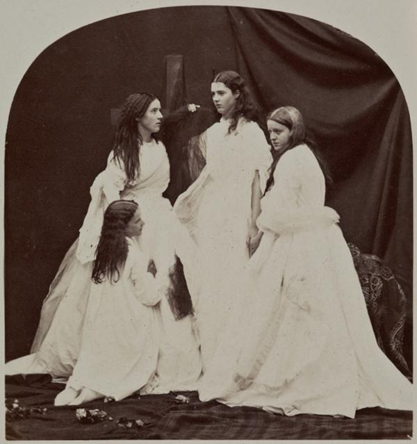 Faith, Hope and Charity - tableau featuring Miss G. Moncrieffe, Lady Anne Duff, the Hon. Miss White and Lady Agnes Duff (27 August 1863)