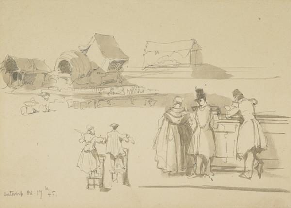 Figure Sketches and Farm Buildings (Dated 1845)