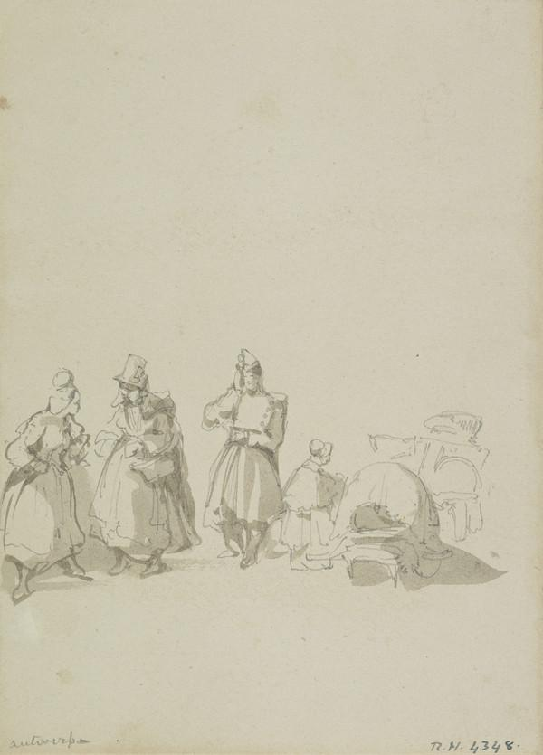 A Group of Three Women and a Soldier (About 1845)