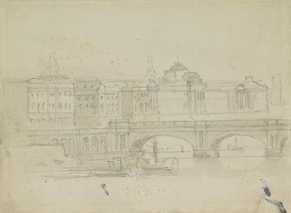 Somerset House and Waterloo Bridge, London (About 1860-3)