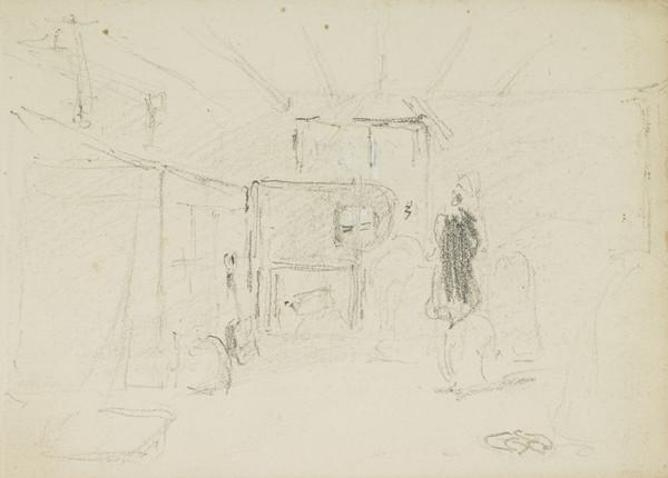A Workman with a Bottle and Tankard [Verso: Cottage Interior]