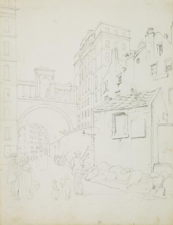 Page from a Sketchbook - The View Up Leith Wynd to Leith Walk, Edinburgh (Early 19th century)