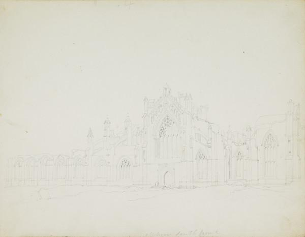 Page from a Sketchbook - The South Front of Melrose Abbey (Early 19th century)
