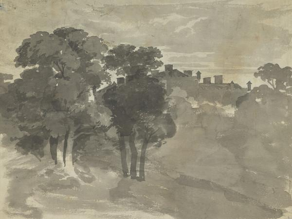 A Castle Seen through Trees (19th century)