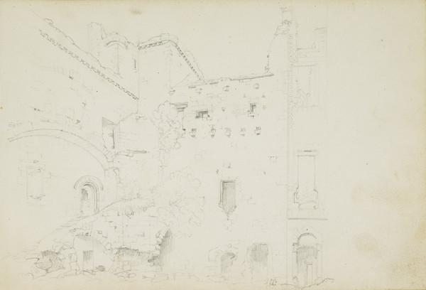 Page from a Sketchbook - The Courtyard of Crichton Castle (Early 19th century)