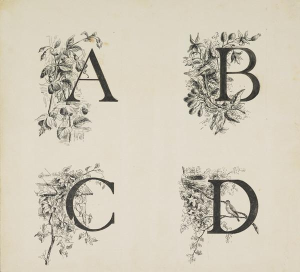 One of Three Designs for a Book Illustration - The First Four Letters of the Alphabet (Late 19th century)