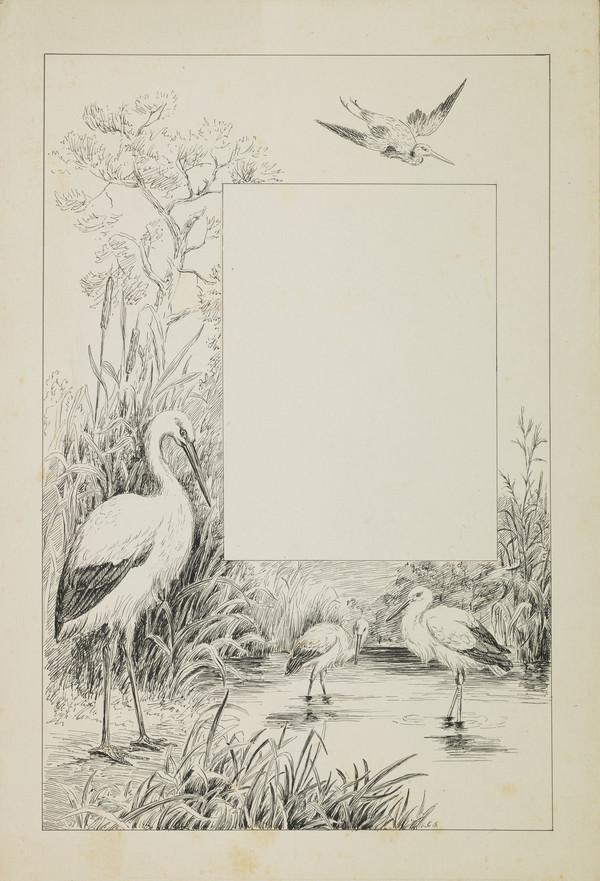 One of Three Designs for a Book Illustration - Storks by a Stream (Late 19th century)