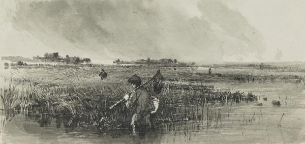 Marshland with a Fisherman