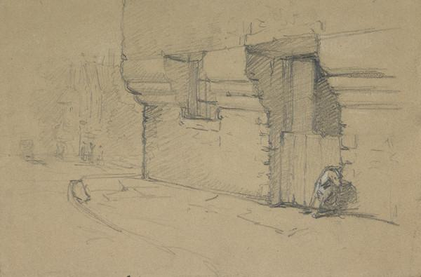 Queen Mary's Bathhouse, Holyrood, Edinburgh [Verso: Slight Sketch of the Door]