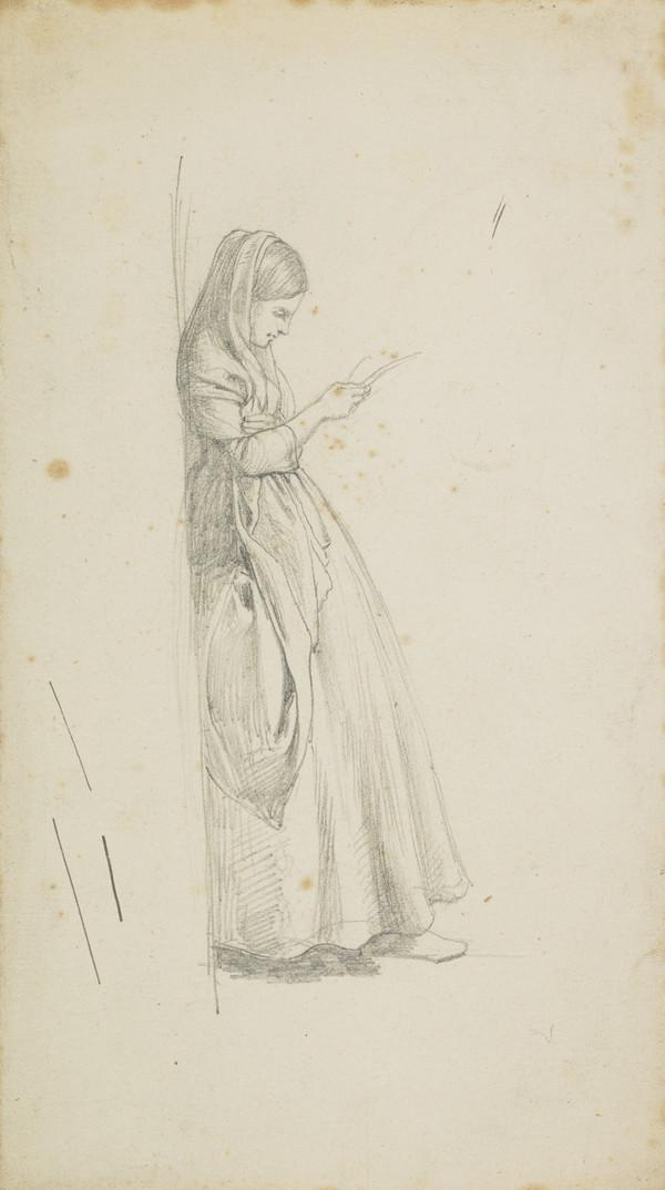 Study of a Young Woman Leaning against a Wall, Reading