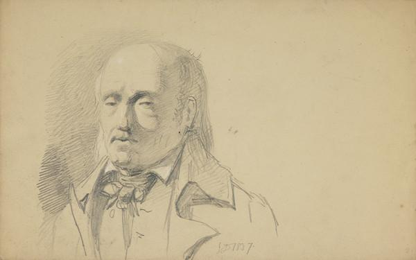 Portrait of a Man [Verso: Study of Hands and a Man on Horseback] (Dated 1837)