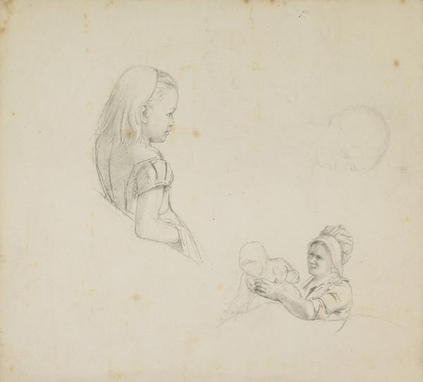 Study of a Small Girl and a Mother with a Baby