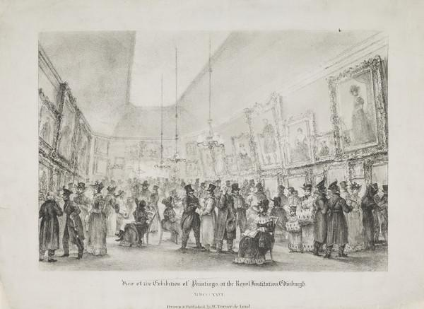A View of the Exhibition of Paintings at the Royal Exhibition, Edinburgh, 1826 (About 1826)