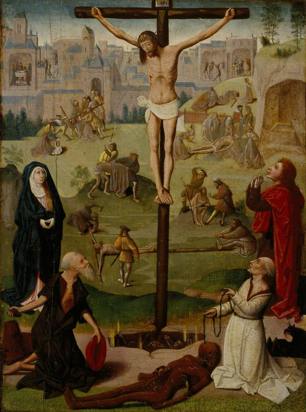 The Crucifixion with St Jerome and St Dominic and Scenes from the Passion (late 15th or early 16th century)