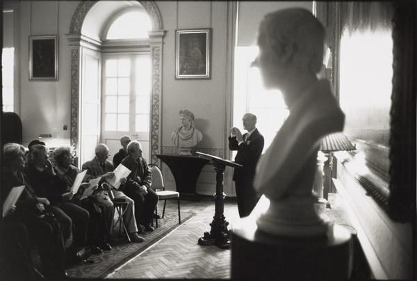 Charles Burnett, Chamberlain, lecturing at Duff House, Aberdeenshire