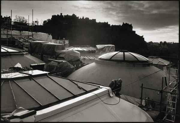 Construction work on the Playfair Project, roof of the Royal Scottish Academy, Edinburgh