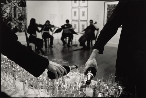 Preparations for the private view of 'Beuys to Hirst', the Dean Gallery, Edinburgh