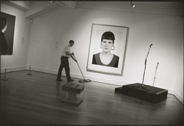 John Bell preparing for the 'Beuys to Hirst' private view, Dean Gallery, Edinburgh
