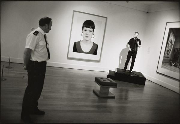 John Crawford watching preparations for the 'Beuys to Hirst' private view, Dean Gallery, Edinburgh