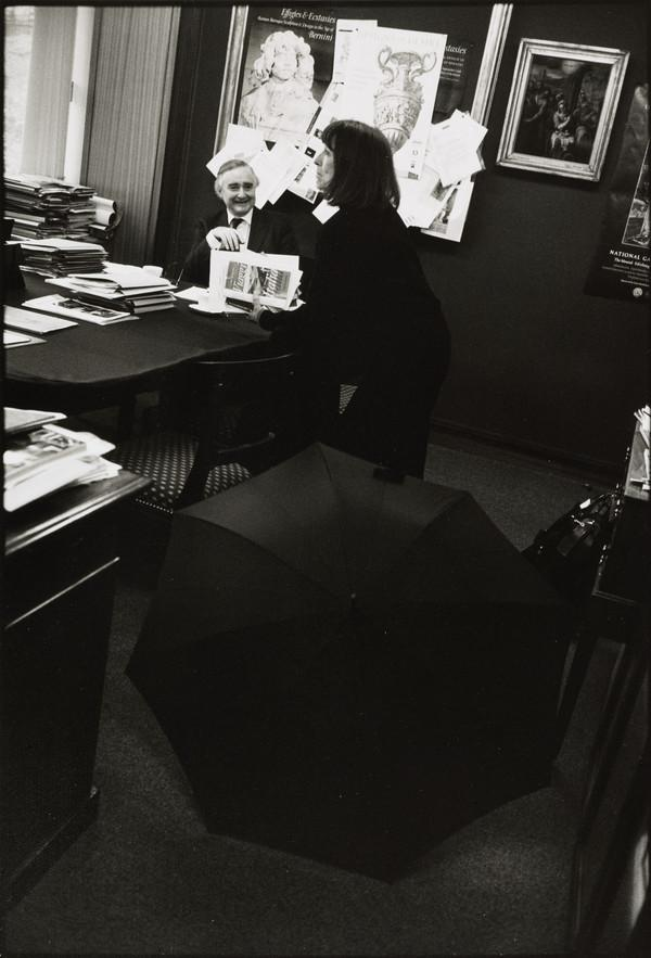 Timothy Clifford, Director General, and his Personal Secretary, Dallas Arnold, in his office, the National Gallery of Scotland, Edinburgh