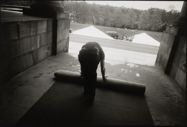 Rolling out the red carpet in preparation for the private view of 'Beuys to Hirst', Dean Gallery, Edinburgh