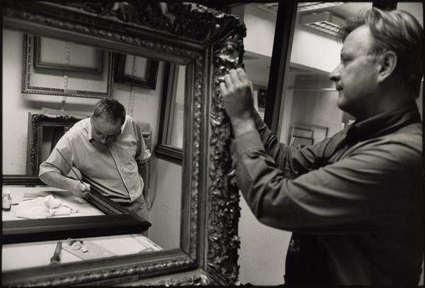 Willie Fernie, Technician, and Keith Morrison, Frame Conservator at the Conservation Department, Scottish National Gallery of Modern Art, Edinburgh