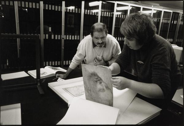 Valerie Hunter, Senior Curator, with a member of the public, Prints and Drawings Study, National Gallery of Scotland, Edinburgh