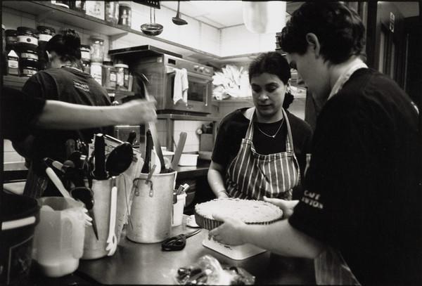 Alison Campbell, Mina Thomas-Webster and Emma Roberts, cafe staff, Scottish National Portrait Gallery, Edinburgh