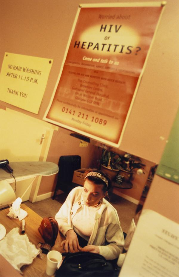 Siobhan in the drop-in centre for prostitutes where she collects condoms, and uses the needle exchange. Other services of support are also on... (January 1999)