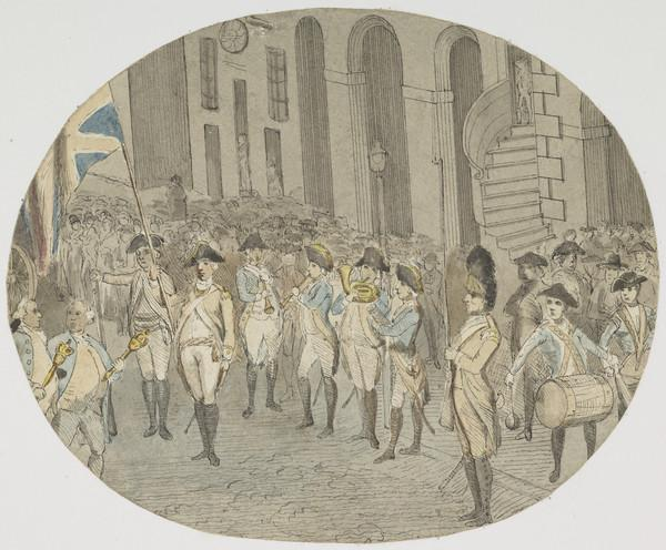 A Military Procession in Edinburgh High Street (About 1780)