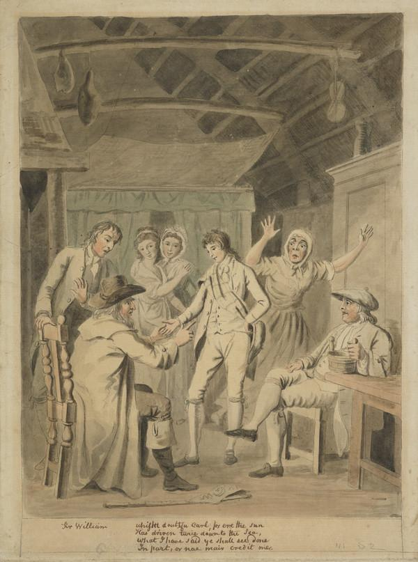Illustration to Allan Ramsay's 'The Gentle Shepherd': Act 3, Scene 2 - Sir William Worthy and Patie (About 1788)