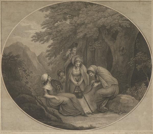 Scene with Three Women, Cooking in a Forest with a child and Soldier On-looking