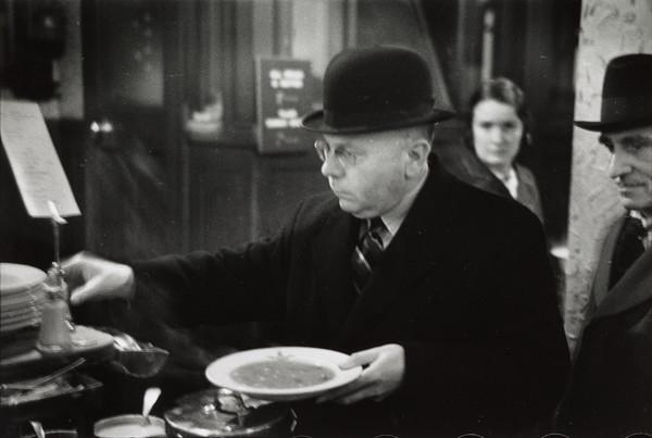 Man with plate of soup, Glasgow (1939)