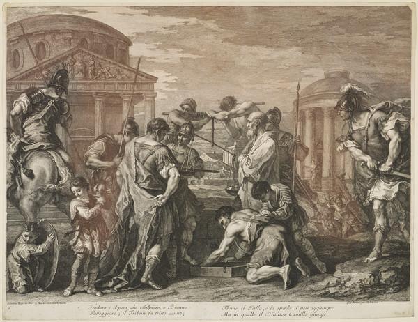 Furius Camillus liberating Rome from Brennus (1763)