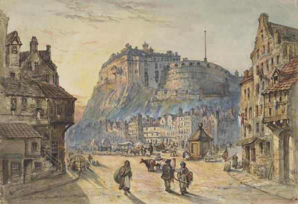 Edinburgh Castle and the Grassmarket from Candlemaker Row (1850)