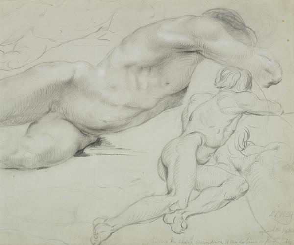 Group of Life Studies of a Male Nude lying on his Left Side (About 1829)