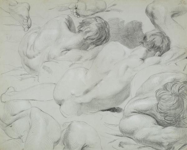 Group of Life Studies of a Male Nude lying on his Right Side (About 1829)