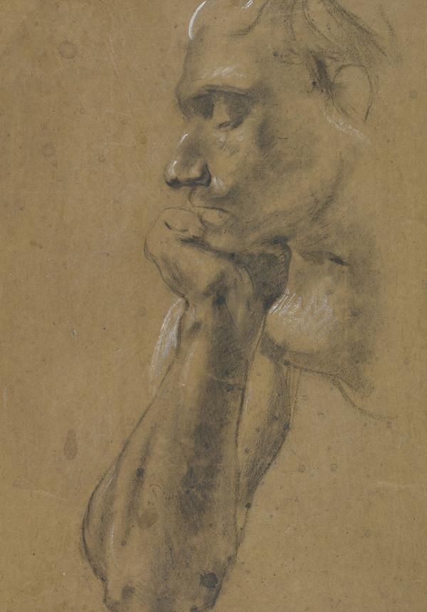 Study of a Man's face in Profile, with Chin resting on his Hand (About 1829)