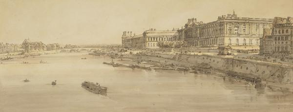 Picturesque Views of Paris: View of the City with the Louvre from Pont Marie (1802)