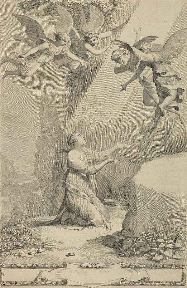 Kneeling Female Saint with Angels