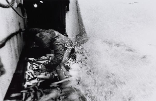 Raymond Peat stacking the fish as a wave crashes over the side of the boat, North Sea (1993)