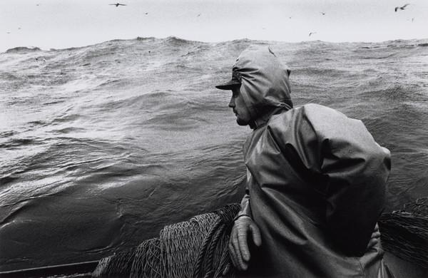 Andrew Cooke watching the waves, aboard the 'Mairead', North Sea (1993)