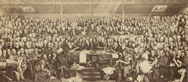 The First General Assembly of the Free Church of Scotland signing the Act of Separation and Deed of Demission at Tanfield, Edinburgh 23 May 1843