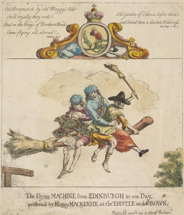 The Flying Machine from Edinburgh in one day performed by Moggy Mackenzie at the Thistle and Crown (1762)