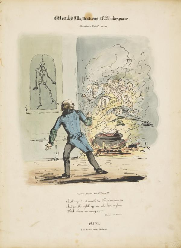 Dr Robert Knox, 1791 - 1862. Anatomist. ('Wretch's Illustrations of Shakespeare', Knox frightened by ghosts, No 6 of second series, Noxiana...