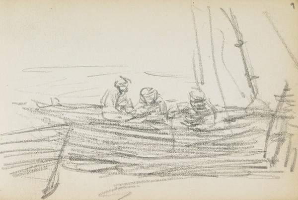 Sketch of fishermen in their boat (About 1883)