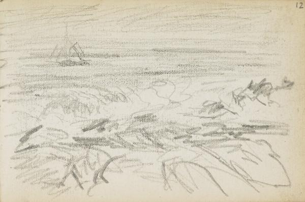 Sketch of sea and rocks (About 1883)