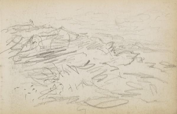 Possible sketch of sea and rocks (About 1883)
